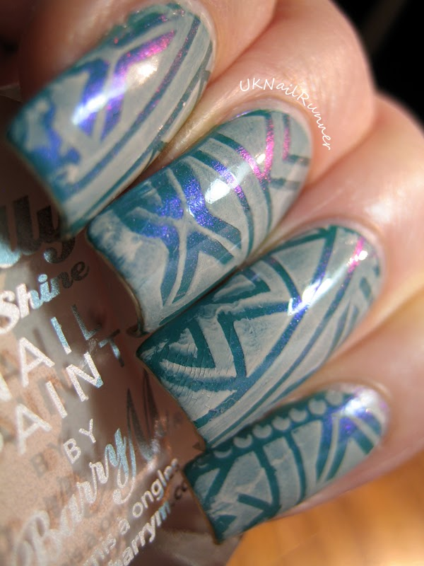 Nail stamping with Barry M Lychee MoYou Explorer plate no 5
