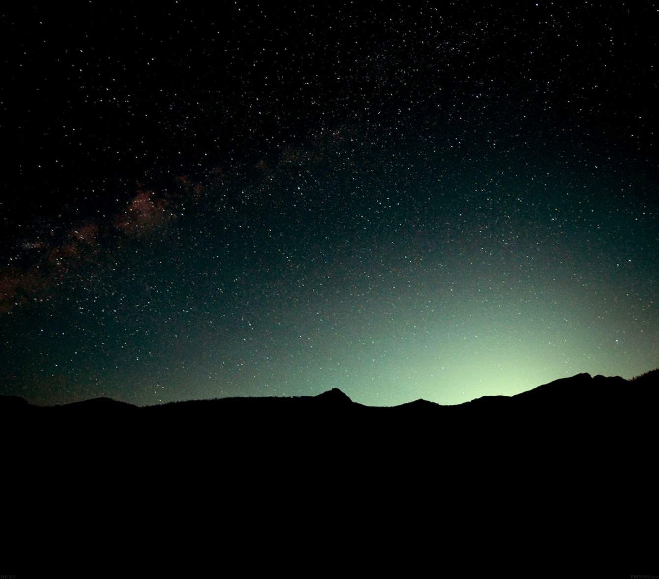 mg93 night sky green wide mountain star shining nature