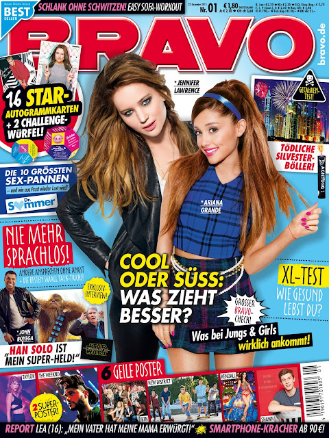 Actress, Singer, @ Jennifer Lawrence, Ariana Grande - Bravo Magazine, Germany, December 2015