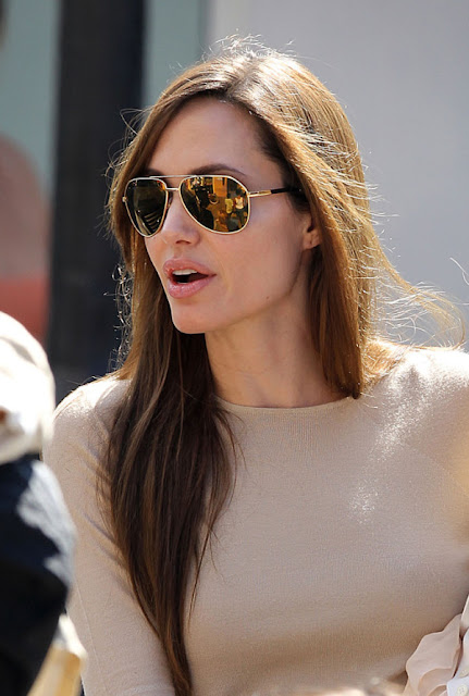 Angelina%252BJolie%252BGold%252BSunglasses%252BDolce%252BGabbana%252Bnude%252Bsweater Angelina Jolie Nude Crewneck Sweater