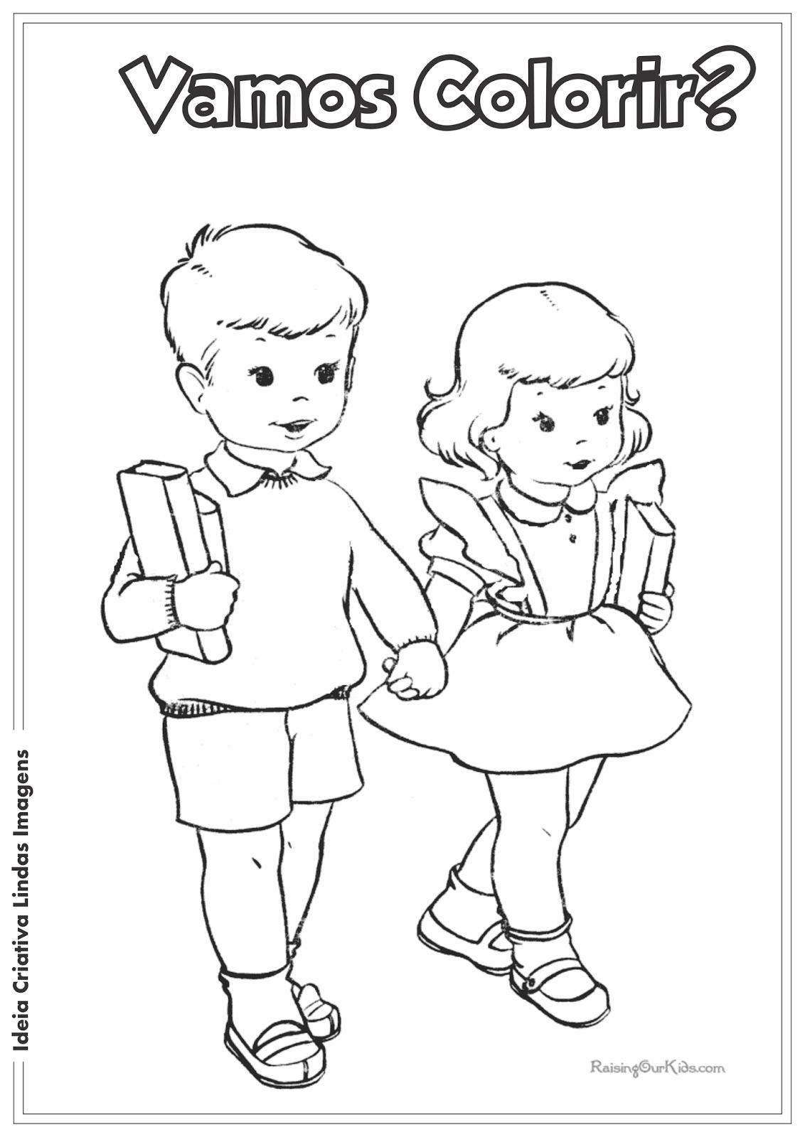 Dia da Escola desenho para colorir