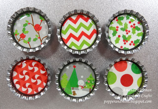 Bottle cap magnets--A perfect last minute Christmas gift!