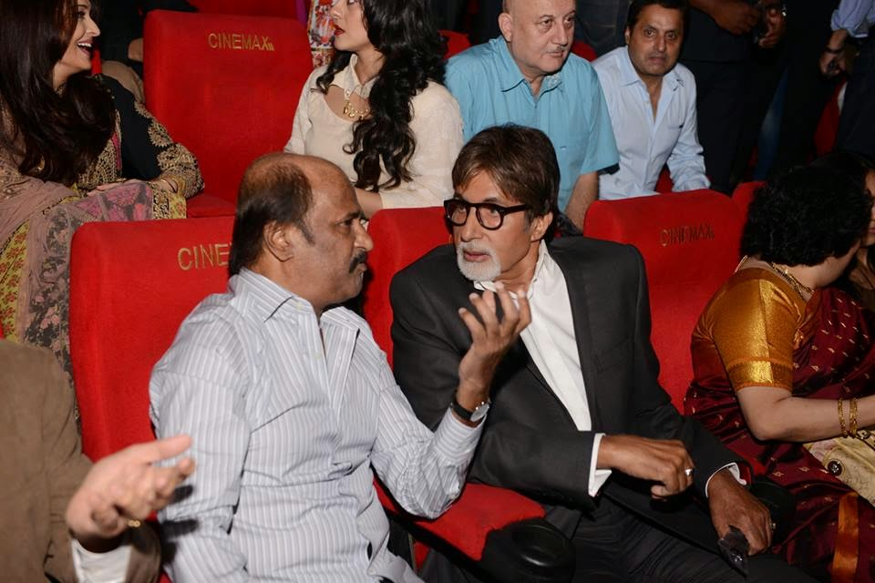 Amithabh, Aishwarya and others at the launch of the film KOCHADAIIYAN of Rajni at Mumbai