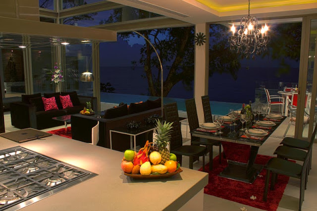 Picture of modern dining room overlooking the ocean