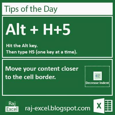 Microsoft Excel 2013 Short Cut Keys: Alt + H5