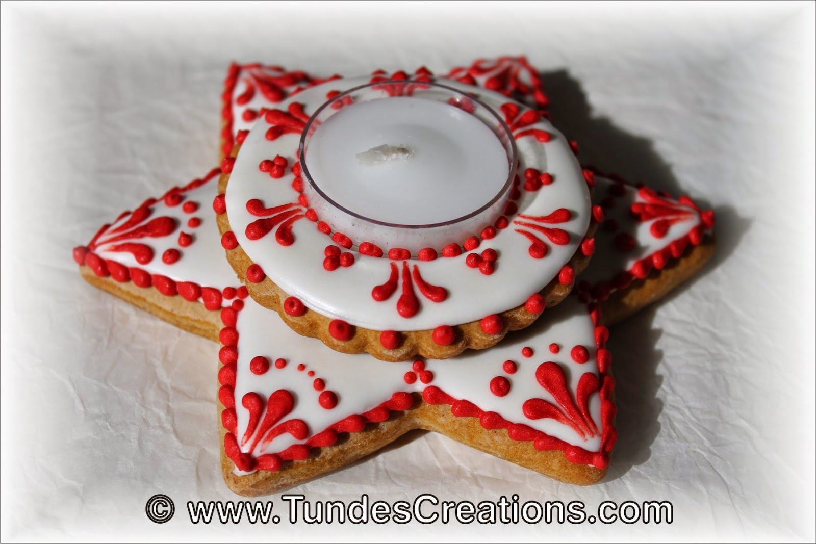 Red and white Gingerbread Christmas candle holder