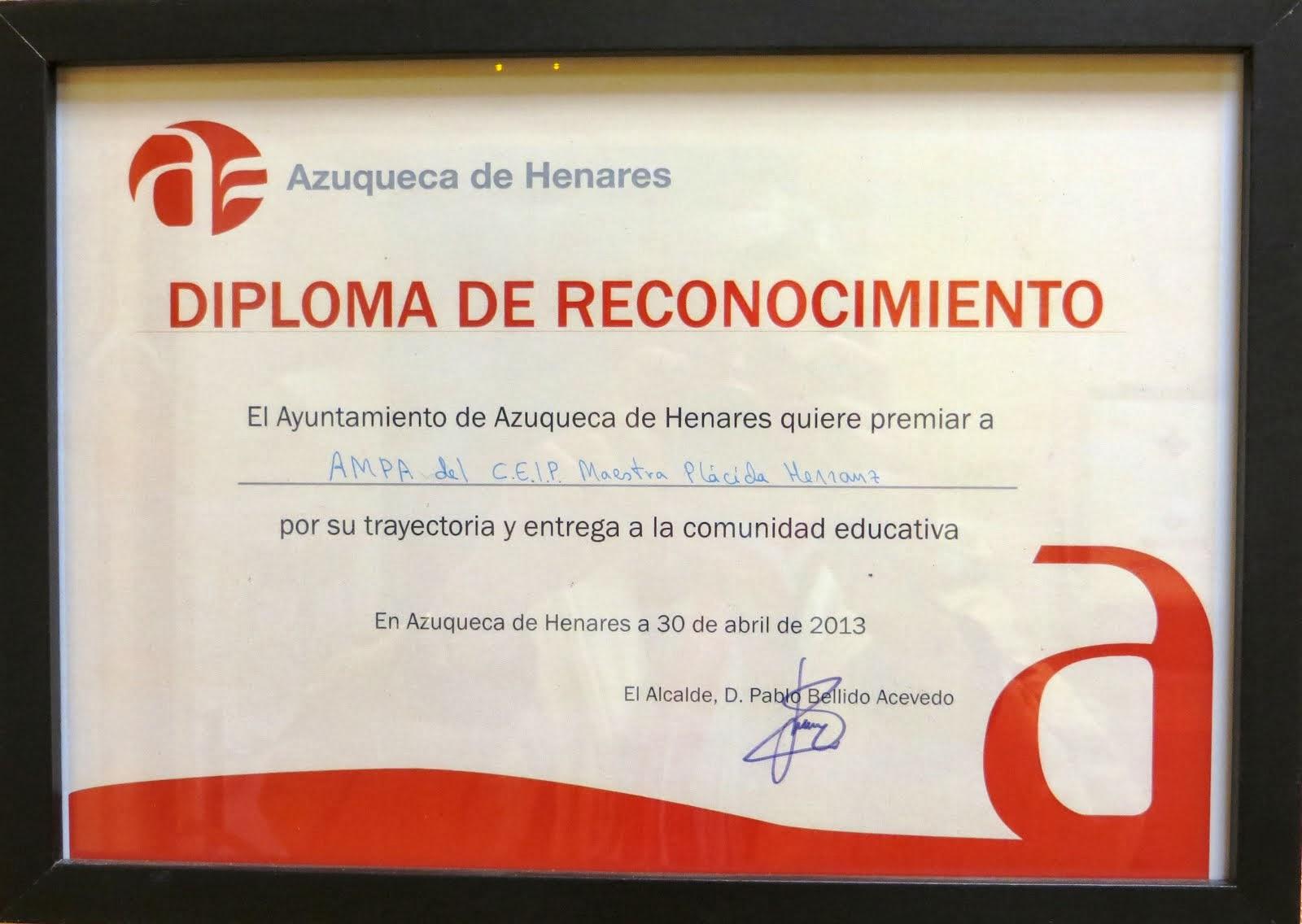 Diploma de Reconocimiento 2013