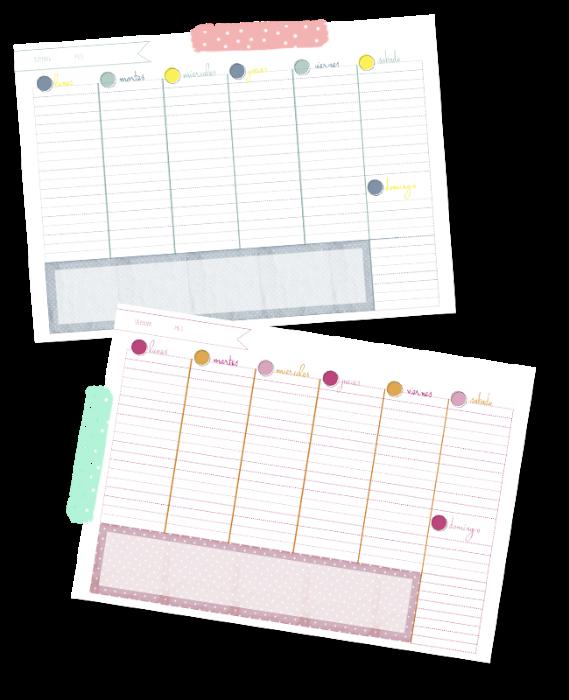 organizador semanal imprimible