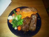 Churrasco, Sweet Potato and Veggies