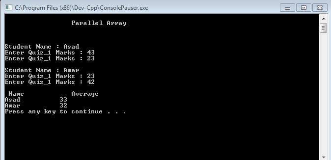 Parallel Array in C++