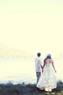 beach lake wedding