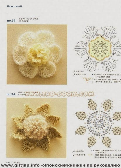 Flores en 3D tejidas con ganchillo estilo crochet japonés - con esquema