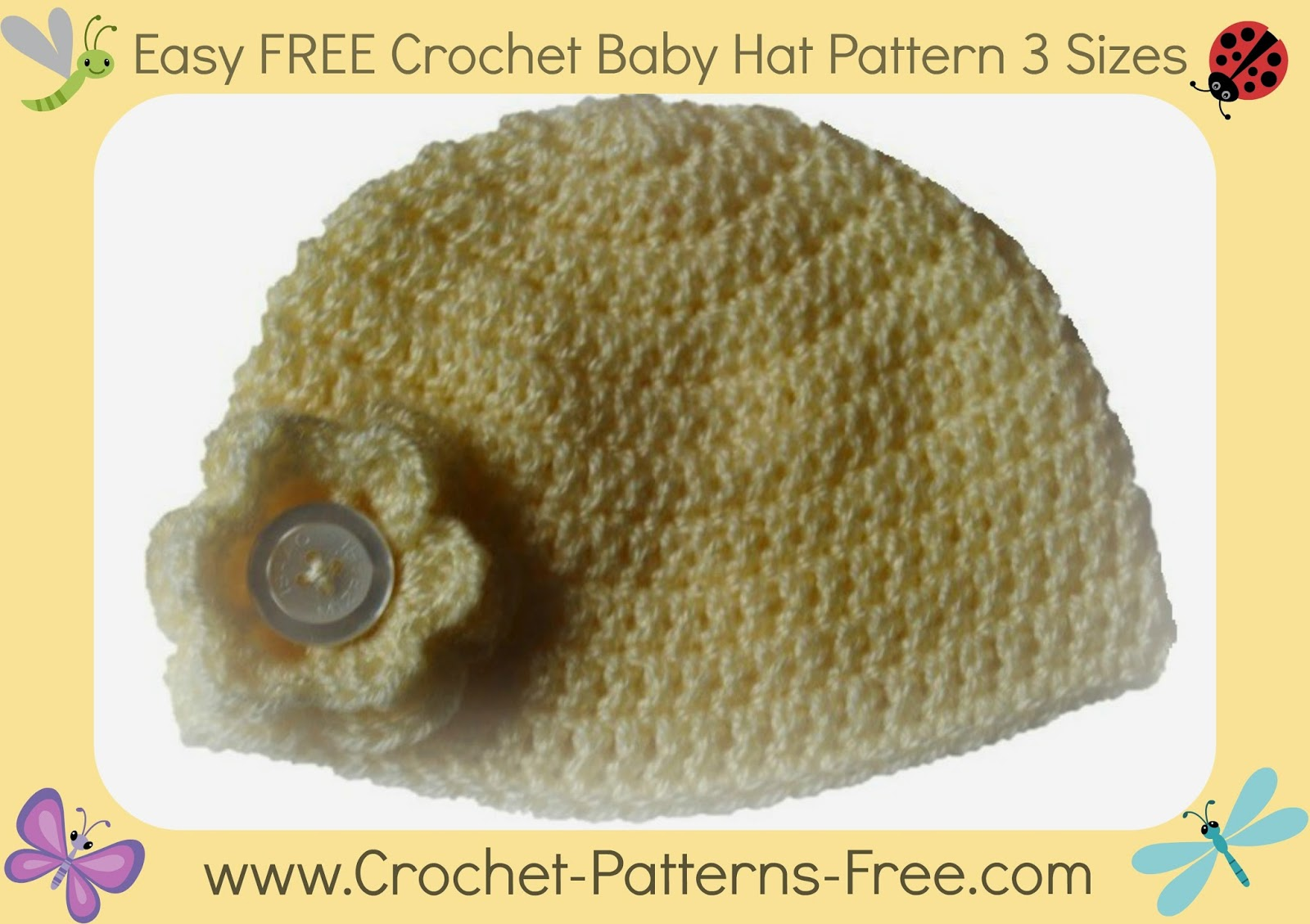 Free crochet pattern for baby toddler and child hat booties free crochet baby hat pattern 3 sizes bankloansurffo Image collections