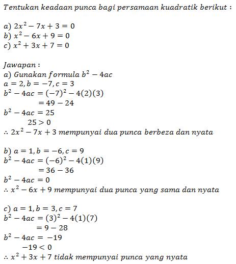 Contoh Soalan Persamaan Kuadratik Tingkatan 4 Soalan Az