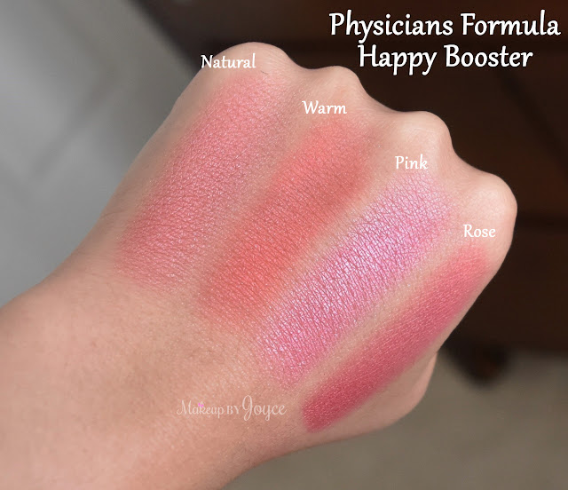 Physicians Formula Happy Booster Natural vs Pink Blush Swatch
