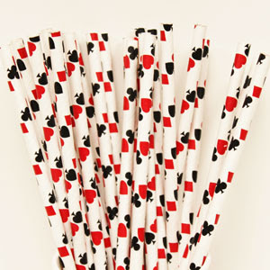 Casino Card Playing Paper Straws