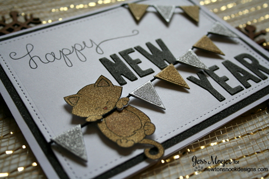 appy New Year | Sparkly Cat Card & Video by Jess Moyer | Hanging Around Stamp set by Newton's Nook Designs