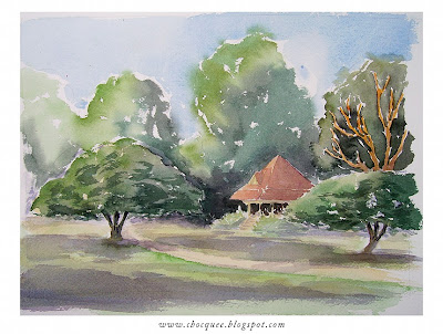 Watercolour painting of the rotunda at New Farm park