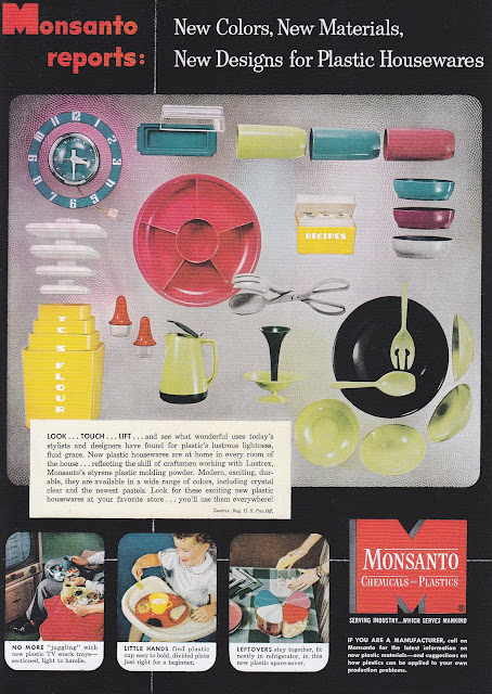 Monsanto 1950s vintage plastic housewares Lustroware clock canisters dishes Just Peachy, Darling