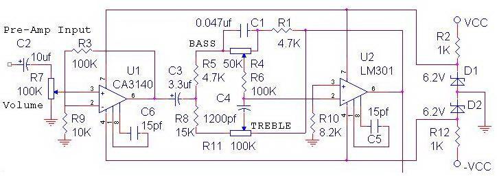 Skema power amplifier OCL diatas terdiri dari dua bagian utama yang