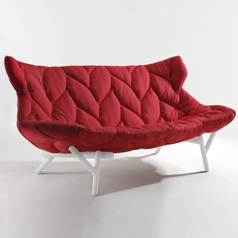 quilted red sofa