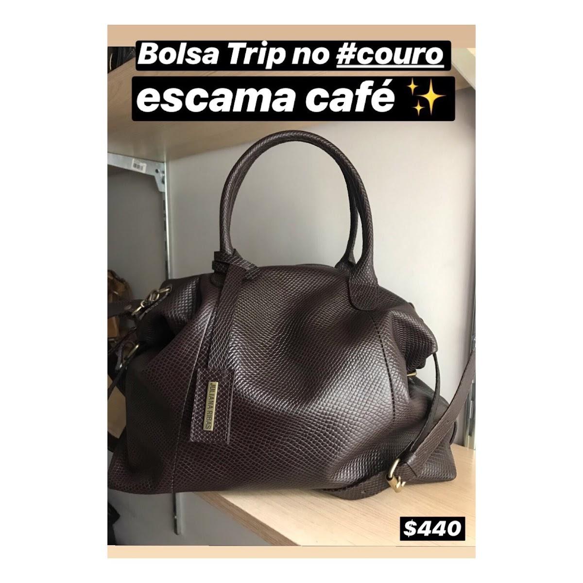 BOLSA TRIP NO COURO ESCAMA CAFÉ