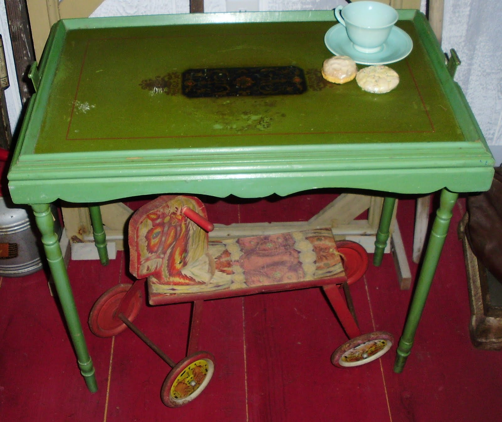 Pretty Little Folding Tray Table Has A Stenciled Design On Top. Table  Measures 28 By 18 Inches And Stands 24 Inches Tall. Folds Up Easily When  Not Needed ...