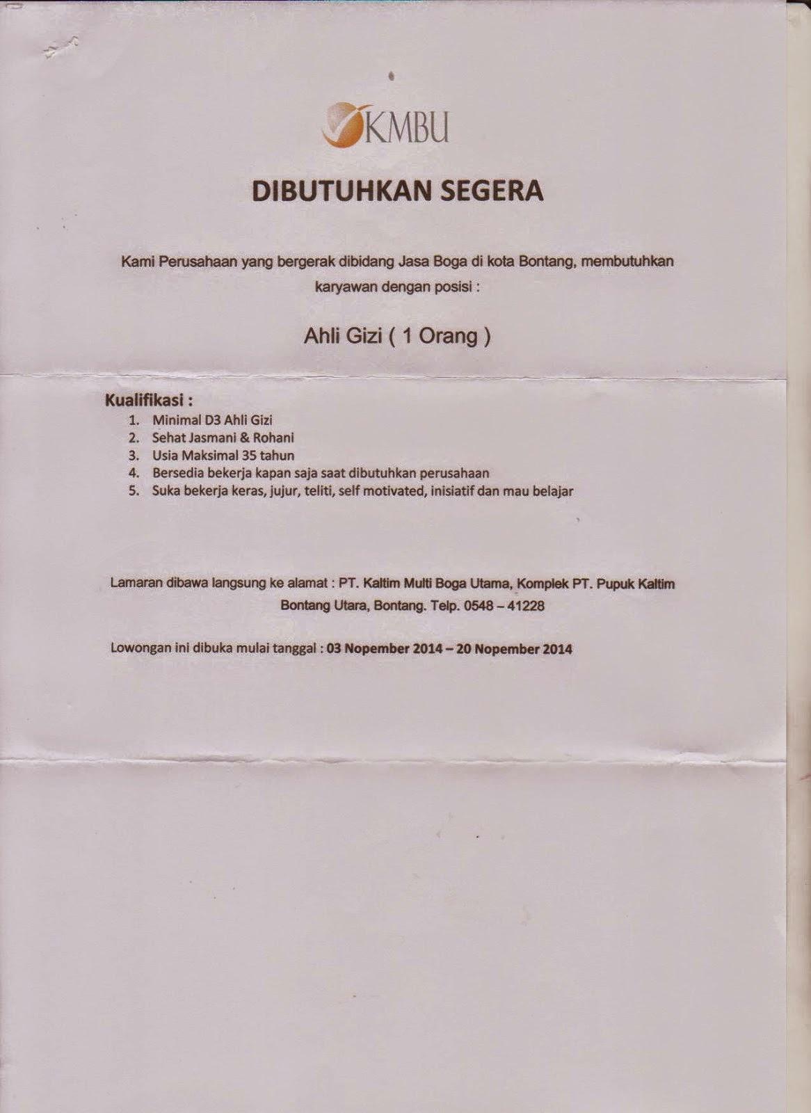 Lowongan Kerja PT KMBU : D3 Ahli Gizi November