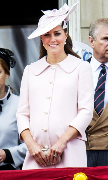 Catherine Middleton wears a pastel pink Alexander McQueen with pearl buttons to celebrated Queen Elizabeth's 87th birthday, June 2013