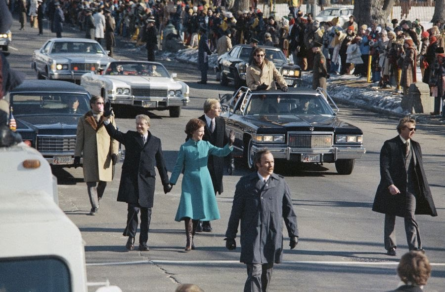 Secret Service agents protect President Carter