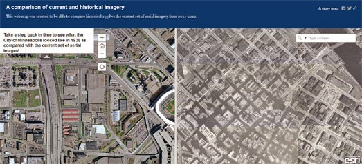 Maps Mania Minneapolis Now Then - Current aerial maps
