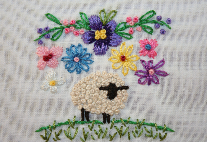 embroidered sheep french knots