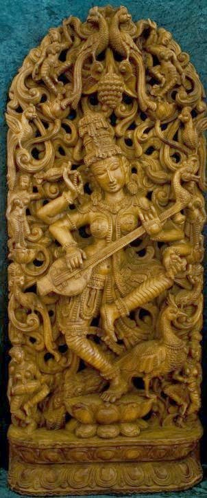 "Goddess Saraswati devi Saraswati: Goddess of Knowledge & Arts  Saraswati, the goddess of knowledge and arts, represents the free flow of wisdom and consciousness. She is the mother of the Vedas, and chants to her, called the 'Saraswati Vandana' often begin and end Vedic lessons.  Saraswati is the daughter of Lord Shiva and Goddess Durga. It is believed that goddess Saraswati endows human beings with the powers of speech, wisdom and learning. She has four hands representing four aspects of human personality in learning: mind, intellect, alertness and ego. She has sacred scriptures in one hand and a lotus – the symbol of true knowledge – in the second.  With her other two hands she plays the music of love and life on a string instrument called the veena. She is dressed in white – the symbol of purity – and rides on a white swan – symbolizing Sattwa Guna or purity and discrimination. Saraswati is also a prominent figure in Buddhist iconography - the consort of Manjushri.  The learned and the erudite attach greater importance to the worship of goddess Saraswati. As a practice, only educated people worship her for knowledge and wisdom. They believe that only Saraswati can grant them 'moksha' - the final liberation of the soul.  Saraswati's birthday - Vasant Panchami - is a Hindu festival celebrated every year on the 5th day of the bright fortnight of the lunar month of Magha. Hindus celebrate this festival with great fervor in temples, homes and educational institutes alike.   Read more about Vasant Panchami  The following popular 'pranam mantra' or Sanskrit prayer, Saraswati devotees utter with utmost devotion eulogizes the goddess of knowledge and arts: Om Saraswati Mahabhagey, Vidye Kamala Lochaney |Viswarupey Vishalakshmi, Vidyam Dehi Namohastutey ||Jaya Jaya Devi, Charachara Sharey, Kuchayuga Shobhita, Mukta Haarey |Vina Ranjita, Pustaka Hastey, Bhagavati Bharati Devi Namohastutey ||The beautiful human form of Saraswati comes to the fore in this English translation of the Saraswati hymn: ""May Goddess Saraswati, who is fair like the jasmine-colored moon, and whose pure white garland is like frosty dew drops; who is adorned in radiant white attire, on whose beautiful arm rests the veena, and whose throne is a white lotus; who is surrounded and respected by the Gods, protect me. May you fully remove my lethargy, sluggishness, and ignorance."""