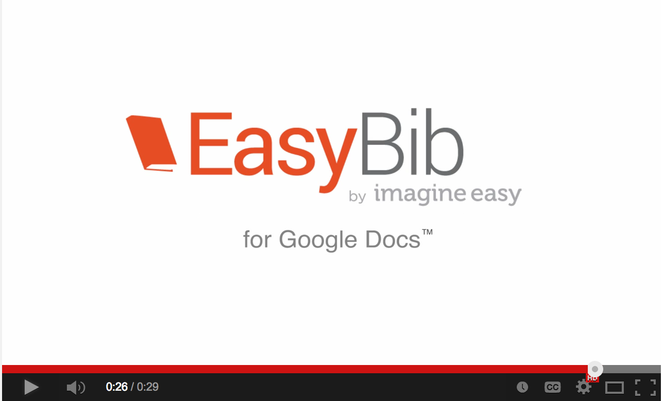 easy way to create bibliography entries in google docs into easybib and it will automatically generate a bibliography entry for you in the style you choose watch the video below to see easybib in action