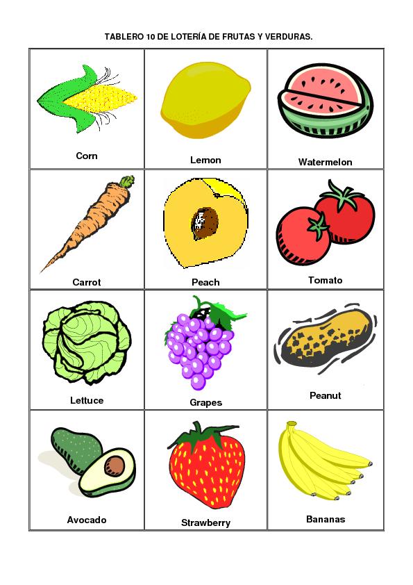 Loteria Frutas Y Verduras En Espanol E Ingles Pictures
