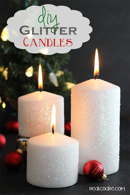 Tutorial on home to make a glitter candle. Easy DIY Home Decor from #RealCoake
