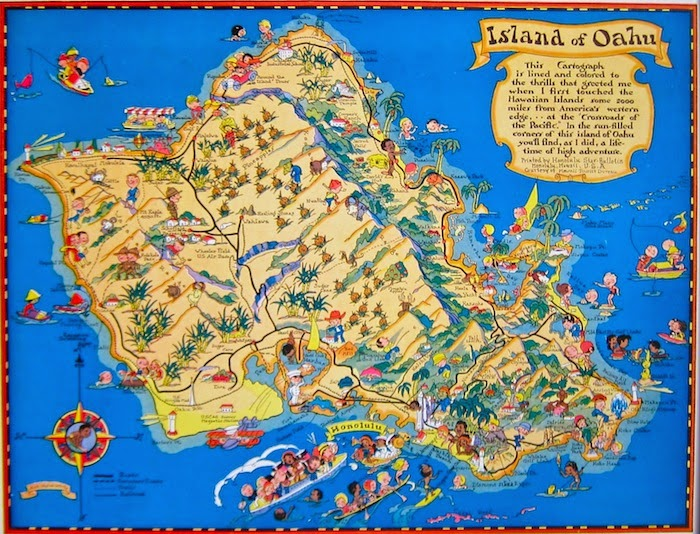 Jeni Sandberg Barking Sands Vintage Vintage Hawaiiana Ruth – Oahu Tourist Attractions Map