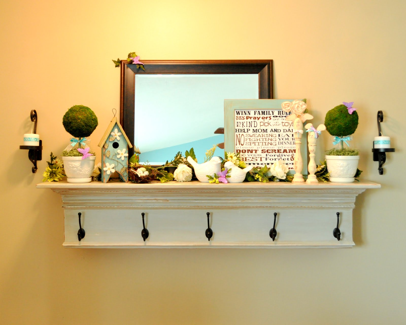 Sassy Sanctuary: Topiaries and my Spring Mantel