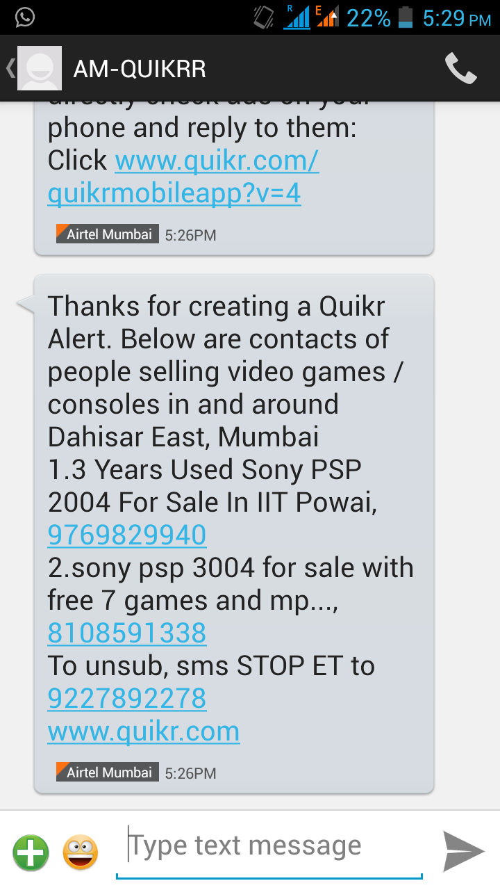 quikr alert on mobile