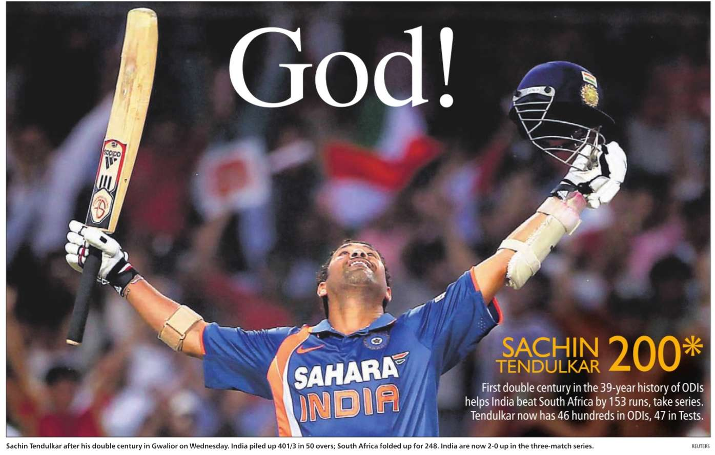 Sachin Tendulkar after scoring ODI Cricket's first double century