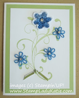 Card decorated with Stampin'UP! Everything Eleanor and hand crocheted flowers