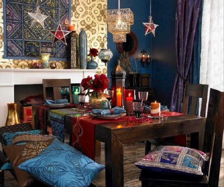 Gypsy yaya bohemian christmas table settings for Funky dining room ideas