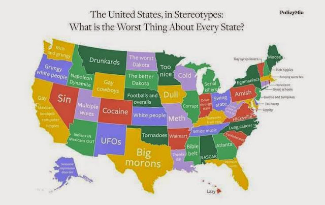 Negative stereotype map USA