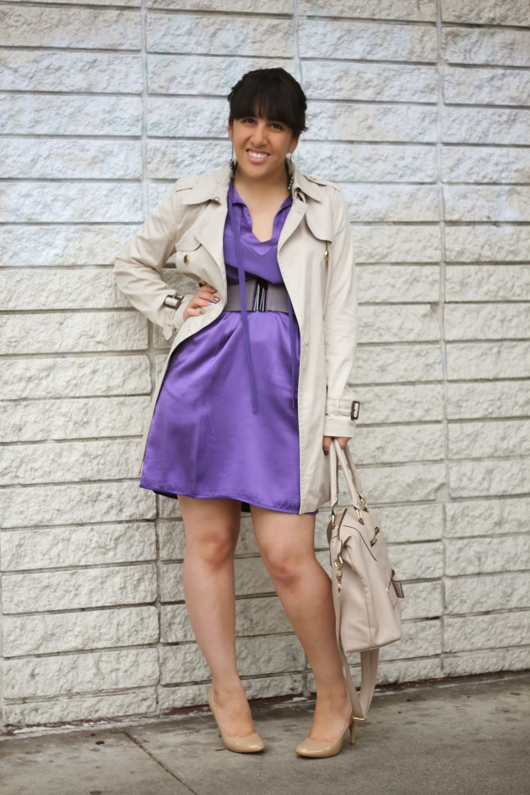 Neutrals and Purple Dress