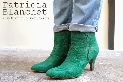 Boots Patricia Blanchet Reno en cuir vert electrique
