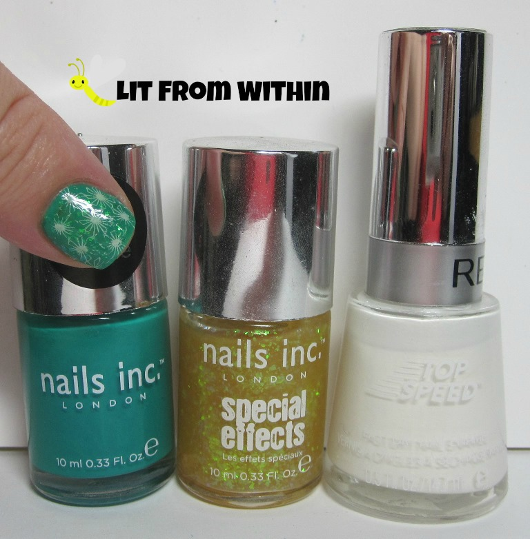 Bottle shot:  Nails Inc. Queen Victoria Street and The Wyndham, and Revlon Spirit.