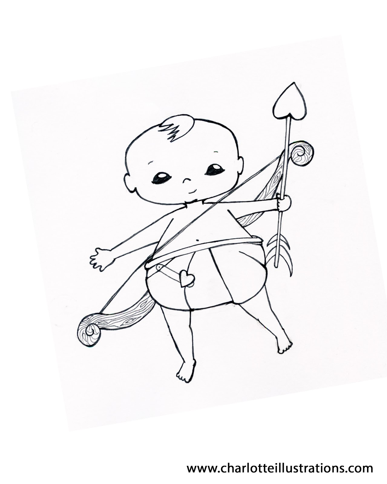 If Youd Like To Take A Shot At Drawing Wings On Your Very Own Cupid Heres Another Coloring Page