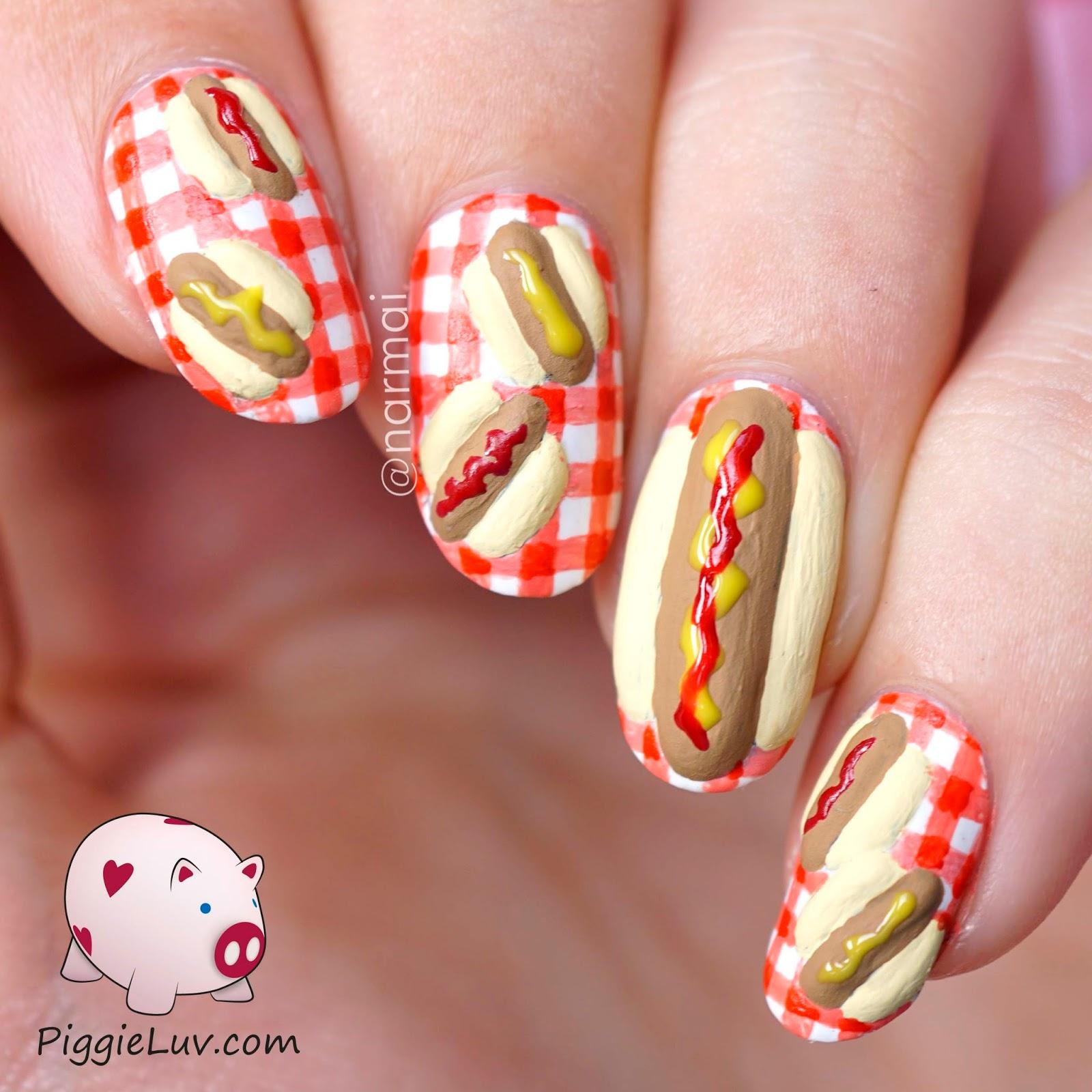Piggieluv 3d Hotdog Nail Art