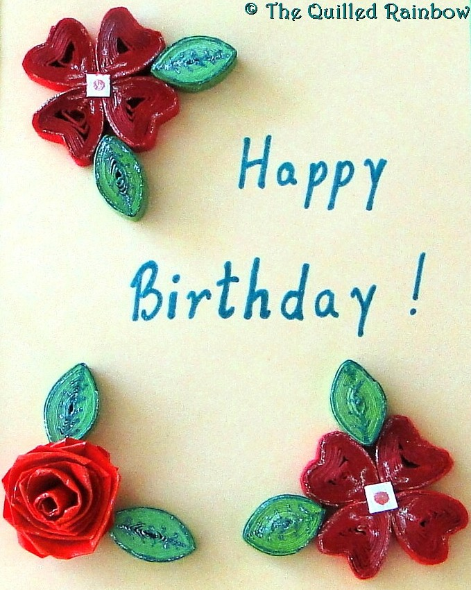 The Quilled Rainbow Quilled Happy Birthday Card in Red – Birthday Cards for a Loved One