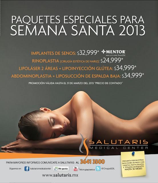 Promociones y ofertas de cirugía plastica estetica en Salutaris Guadalajara Mexico 2013